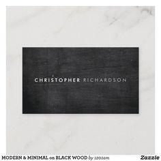 MODERN & MINIMAL on BLACK WOOD Business Card