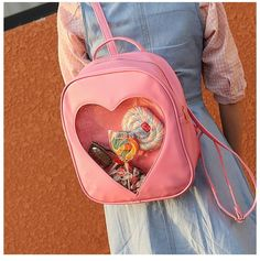Transparent heart backpack by Kawaii Baby colors available:pink,black,white,blue