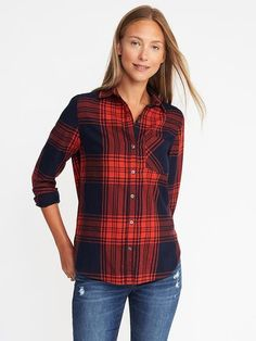 Classic Flannel Shirt for Women , Old Navy, navy/red pattern, XL