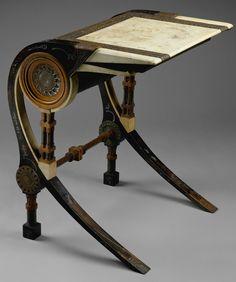 CARLO BUGATTI desk, c. 1902, walnut, copper, pewter, vellum, (23-3/4) in wide, 29-1/2 in high.  |  The Metropolitan Museum of Art