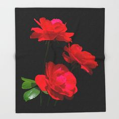 Red roses fleece throw blanket, home decor, living room, bedroom, lap robe, nature inspired, Dublin