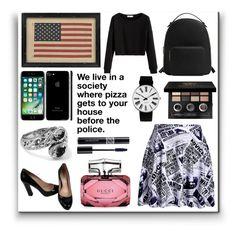 """Americana In Black"" by dreamingdaisy ❤ liked on Polyvore featuring MANGO, Miu Miu, Bobbi Brown Cosmetics, Gucci, Rosendahl and Christian Dior"