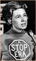 Phyllis Schlafly spearheaded a nationwide campaign to stop the Equal Rights Amendment in January 1977.