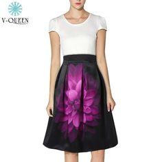 V-Queen 2016 New Fashion Women Large Flower Print Skirt High Waist Black Pleated Floral Print Elegant Midi Skirt Female A1602009