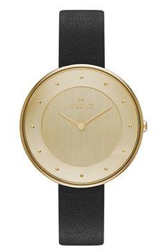 7344d238c1d0 Skagen  Gitte  Round Slim Leather Strap Watch