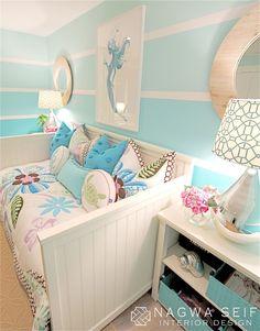 Girls room - love the blue stripes from NSInteriorDesign.