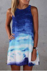 Stylish Round Neck Blue Ombre Design Straight Dress For Women