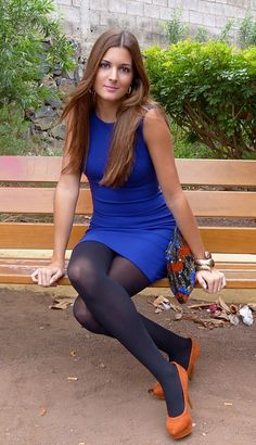 Cobalt dress, navy tights, orange heels