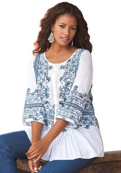 1aa558d5ae9 Roamans Women s Plus Size Embroidered Print Bigshirt