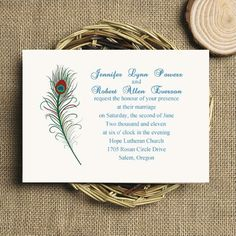 simple red and green printable peacock wedding invitation EWI207 as low as $0.94