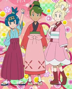 Pokémon Sun & Moon Series Episode 117 Pokémon © Game Freak, Nintendo & TV Tokyo Full Picture made by me Lillie, Lana & Mallow. The Alola Girl's Asian-Style Outfits Pokemon Alola, Pokemon People, Pokemon Fan Art, Cute Pokemon, Pikachu, League Of Legends, Pokemon Moon And Sun, Pokemon Adventures Manga, Funny Memes