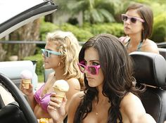 """""""To New Beginnings""""-- LtoR: AnnaLynne McCord as Naomi, Jessica Lowndes as Adrianna, and Jessica Stroup as Silver on 90210 on THE CW. Photo: Michael Desmond/The CW The CW Network. All Rights Reserved. Ray Ban Original Wayfarer, Jessica Stroup, Jessica Lowndes, Wayfarer Sunglasses, Sunglasses Women, Annie Wilson, Planet Fashion, Shenae Grimes, Spring 2015 Fashion"""