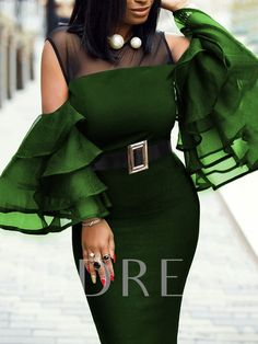 Rotiu Women's Solid Color Sexy Tiered Sleeve Belt Dress If you're looking for a a-line, round collar dress look no further than this! Our feminine dress will add an instant style upgrade to your closet. Party Dresses For Women, Club Dresses, Stitching Dresses, Dress Outfits, Fashion Outfits, Dress Fashion, Fashion 2017, Latest African Fashion Dresses, Latest Fashion