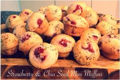 Strawberry & Chia Seed Mini Muffins Bellini Recipe, Mini Muffins, Chia Seeds, Strawberry, Snacks, Baking, Vegetables, Projects, Recipes