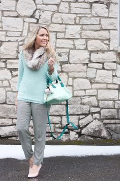 Transitional spring mint outfit