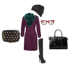 cozy purple dress, created by #erikalgoodrow on #polyvore. #fashion #style Fat Face Steve Madden