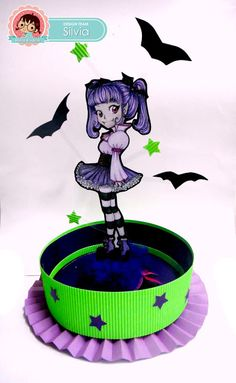 Silvia Scrap: Reto # 27 en Zuri Artsy Craftsy. Centro de Mesa para Halloween Digi: Miu de Zuri Digital Stamps