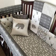 Bedding Set Rustic Woodland Themed Crib by SleepingLakeDesigns