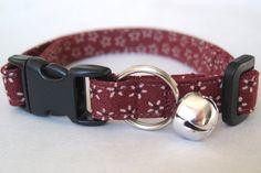 Flowers on Burgundy Cat Collar - Customizable