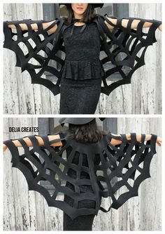 No-Sew Halloween Spiderweb Cape TUTORIAL ~ child or adult. Says: It's versatile too. I've made it into a witch accessory, but you could totally just be a spider web for Halloween and put a huge plastic spider on your back. MY COSTUME THIS YEAR! Adornos Halloween, Fete Halloween, Halloween Disfraces, Holidays Halloween, Halloween Crafts, Halloween Makeup, Halloween Decorations, Homemade Halloween, Group Halloween