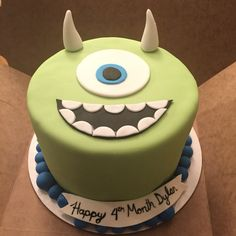 Monsters inc, mike wazowski cake Baby Dylan month cake