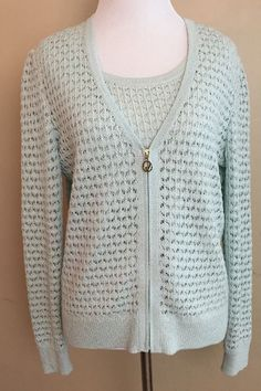 2pc ST. JOHN SPORT Mint Green Tank Top Cardigan Sweater Set Size S Small Crochet #StJohnSport #Cardigan