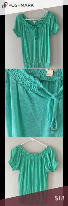 Forever 21 peasant top Lightweight green short sleeve peasant shirt with a beautiful burnout design.  Excellent condition Forever 21 Tops Tees - Short Sleeve