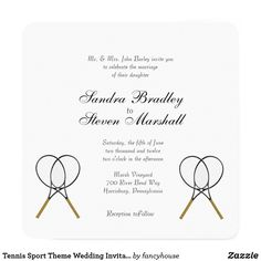 Tennis Sport Theme Wedding Invitations 60% off