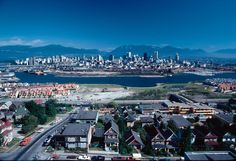Housing density starts along the south shore of False Creek below the old houses of Fairview Slopes. Vancouver Photos, Vancouver Island, West Coast Canada, August 12, Most Beautiful Cities, Cityscapes, Pacific Northwest, Historical Photos, Travel Posters