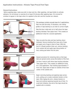Simple kinesiology taping instructions for foot