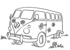 Dinkies VW Little Stamps from Little Claire Embroidery Stitches, Embroidery Patterns, Hand Embroidery, Hand Applique, Vw Bus, Volkswagen, Vw Camping, Cartoon Sketches, Coloring Book Pages