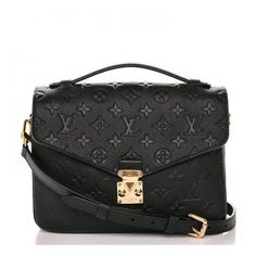 LOUIS VUITTON Empreinte Pochette Metis Noir Black ❤️ liked on Polyvore featuring bags, handbags, shoulder bags, stripe purse, shoulder bag purse, leather handbags, striped handbags and monogrammed handbags