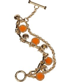 Gold Bright Orange Charm Bracelet