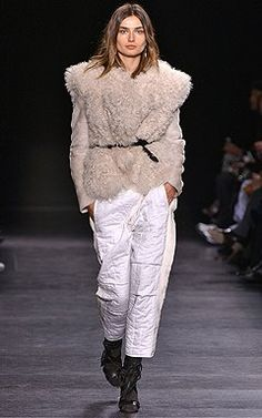 Isabel Marant paired slouchy white pants with a shearling vest