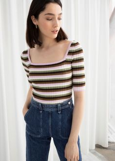 39cd49d4092c5 Fitted Striped Micro Knit Top - Stripe - Tops   T-shirts -   Other.   Other  Stories