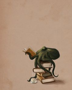 Well Read Octopus - A gallery-quality illustration art print by Rebecca Flaum for sale.