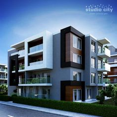 Apartment facade modern projects new ideas Building Elevation, Building Facade, Modern Exterior, Exterior Design, Apartment Balcony Garden, Apartment Projects, Small Buildings, Cool Apartments, Modern House Design