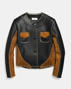 CROPPED JACKET WITH WESTERN EYELETS - Alternate View 1