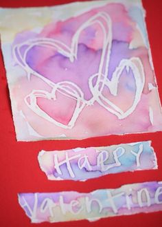 Wax Resist Valentine's Day Cards