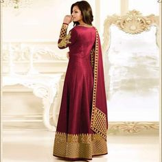 c7a3ffada0 Buy Craftsvilla Maroon Color Bhagalpuri Silk Embroidered Frock Style  Semi-stitched Anarkali Suit online.