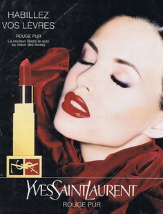 PUBLICITE ADVERTISING 074 1995 YVES SAINT LAURENT rouge pur rouge à lèvres
