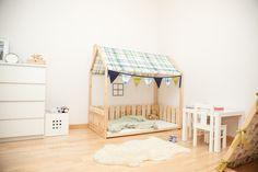 Kinderbetten - House bed 70x140 with fence and fabric roof - ein Designerstück von Gunita-Spravnika bei DaWanda