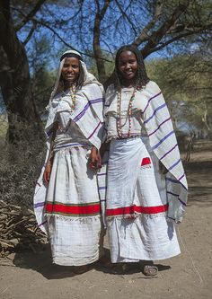 Africa | Karrayyu girls dressed for gadaa ceremony. The Karrayyu are ancient pastoralist Cushitic speaking Oromo ethnic group residing in the Awash Valley, around the volcano of Mount Fentale and the Metehara Plain (Great East African Rift Valley) in the Fantalle District of the Oromia region in Ethiopia