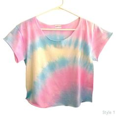 TIE DYE OMBRE Pastels Ombre Pastels Crop Top by LivingYoungDesigns