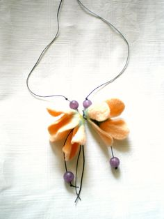 Charming necklace with needle felted flowers in soft by dreamdust2, $16.00