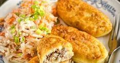 Farszynki to smażone ziemniaczane kotleciki pochodzące z rejonu Warmii i Mazur. Ich nazwa pochodzi oczywiście od farszu, a ten najczęściej b... Mozzarella, Tacos, Menu, Mexican, Chicken, Dinner, Cooking, Ethnic Recipes, Food