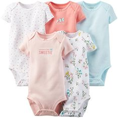 Carter's Baby Girls' 5 Pack Bodysuits (Baby) - Love ** Don't get left behind, see this great product : Baby clothes Baby Outfits Newborn, Baby Girl Newborn, Baby Boy Outfits, Toddler Outfits, Boys And Girls Clothes, Girls Dress Up, Carters Baby Girl, Baby Girls, Cute Bodysuits