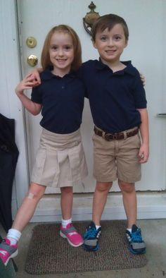 Blake and Hannah first day of Kindergarten