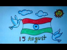 How to Draw Happy Independence Day Independence Day Drawing, 15 August Independence Day, Indian Independence Day, Indian Flag, August 15, Pigeon, Art School, Make It Yourself, Mehndi