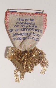 """Lifetime Medal 280100507863, 2007 Gold, linen, cotton Laura Potter """"In these lots of second hand jewellery I was looking for private sellers who were advertising old family pieces, and especially those who gave an insight into the emotional status of the items for sale. The embroidered quote is taken directly from the eBay listing."""""""